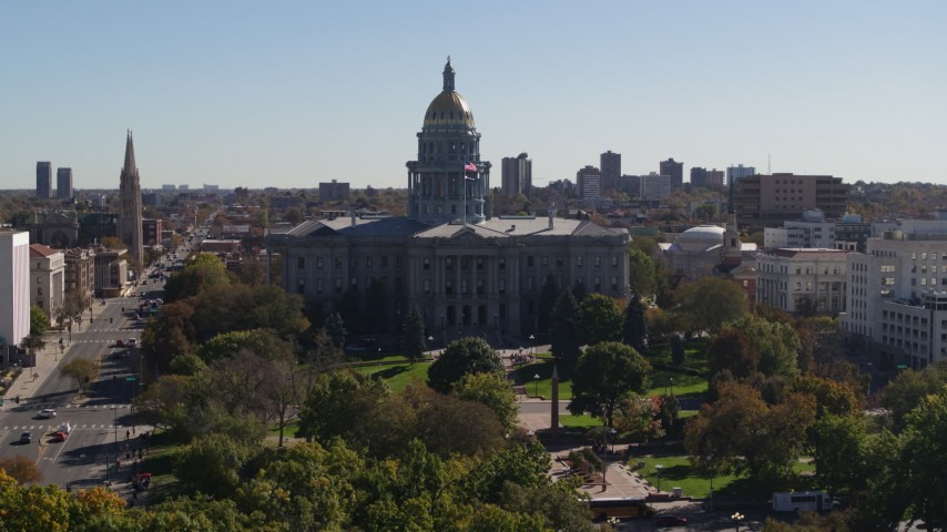5.7K stock footage aerial video flyby the Colorado State Capitol during descent, Downtown Denver, Colorado Aerial Stock Footage | DX0001_001707