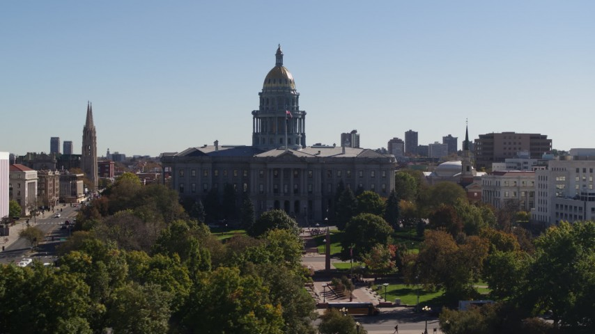 5.7K stock footage aerial video flyby the Colorado State Capitol during slight ascent, Downtown Denver, Colorado Aerial Stock Footage | DX0001_001710