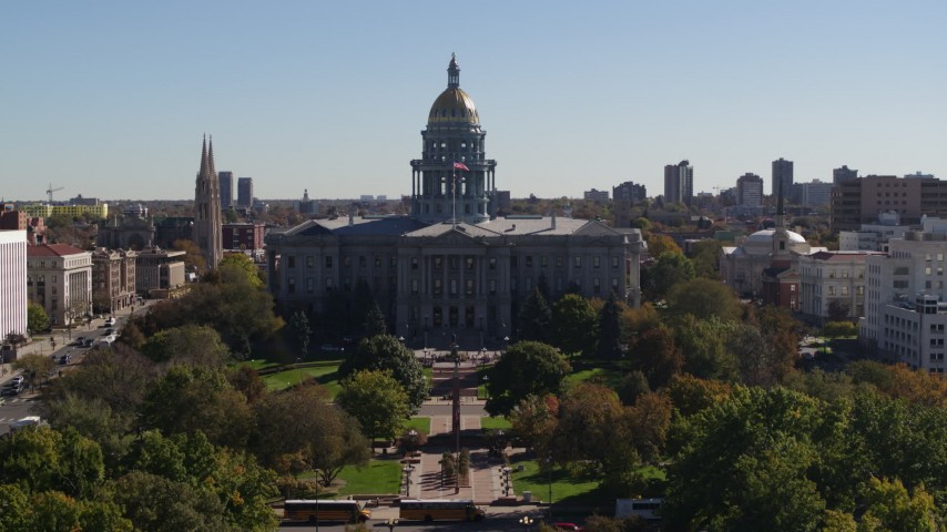 5.7K stock footage aerial video of the Colorado State Capitol during descent to stationary view, Downtown Denver, Colorado Aerial Stock Footage | DX0001_001711