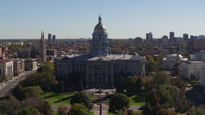 5.7K stock footage aerial video approach the Colorado State Capitol during ascent, Downtown Denver, Colorado Aerial Stock Footage | DX0001_001712