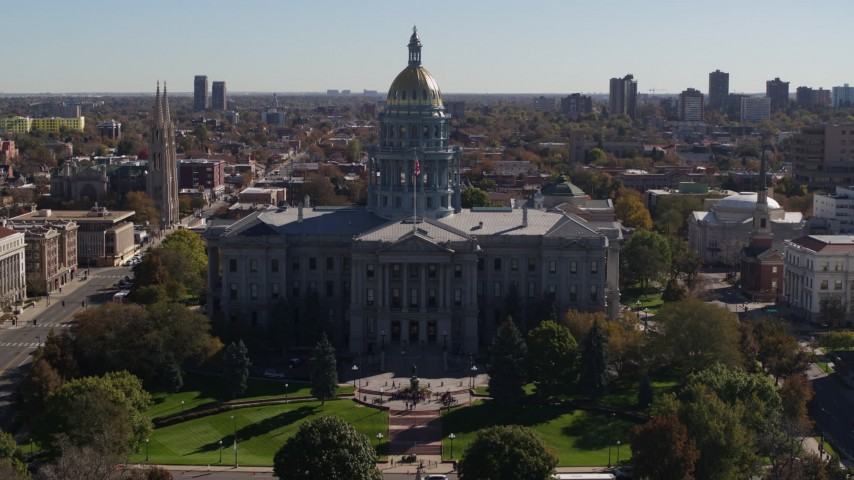 5.7K stock footage aerial video fly away from the Colorado State Capitol during descent, Downtown Denver, Colorado Aerial Stock Footage | DX0001_001713