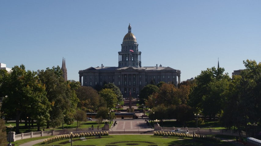 5.7K stock footage aerial video ascending toward the Colorado State Capitol from park, Downtown Denver, Colorado Aerial Stock Footage | DX0001_001714