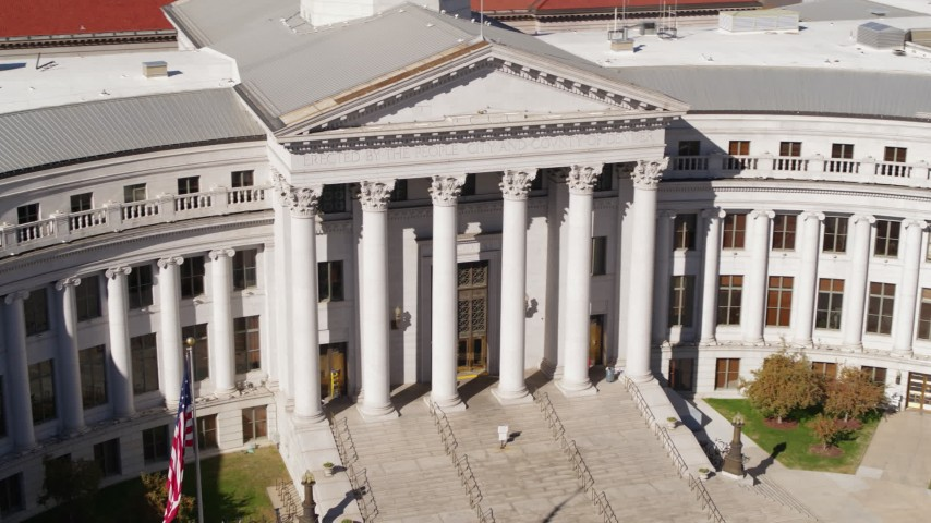 5.7K stock footage aerial video close-up view of front of the Denver City Council in Downtown Denver, Colorado Aerial Stock Footage | DX0001_001718