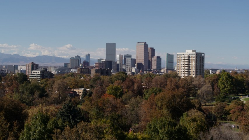 5.7K stock footage aerial video of the city's skyline seen during descent, Downtown Denver, Colorado Aerial Stock Footage | DX0001_001725
