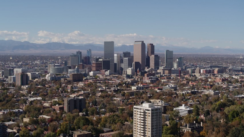 5.7K stock footage aerial video of wide view of the city's skyline, Downtown Denver, Colorado Aerial Stock Footage | DX0001_001727
