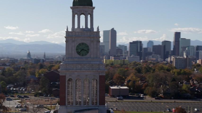 5.7K stock footage aerial video of orbiting a clock tower, Denver, Colorado Aerial Stock Footage | DX0001_001748
