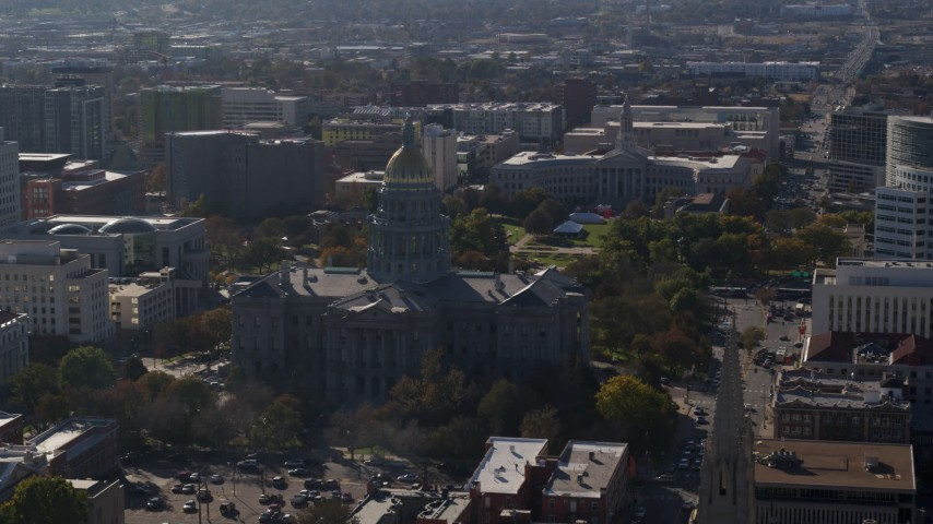 5.7K stock footage aerial video of a stationary view of the Colorado State Capitol and Denver City Council building, Downtown Denver, Colorado Aerial Stock Footage | DX0001_001760