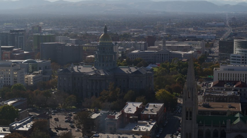 5.7K stock footage aerial video of the Colorado State Capitol and Denver City Council during descent, Downtown Denver, Colorado Aerial Stock Footage | DX0001_001761