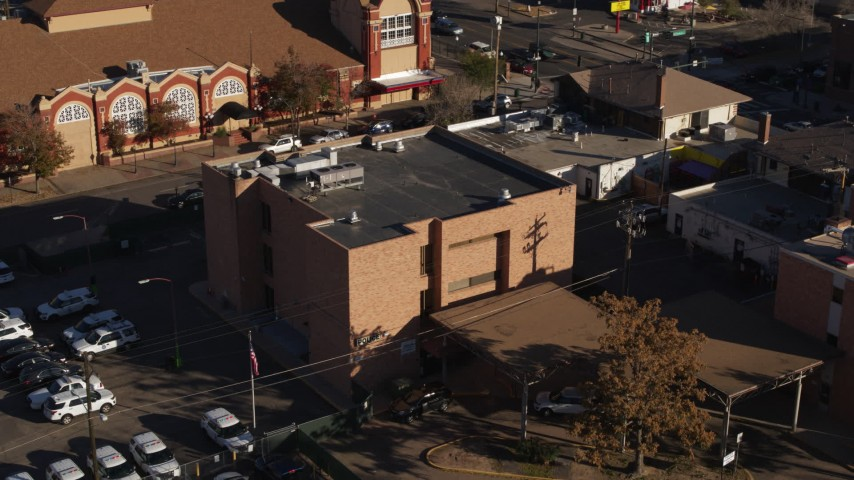 5.7K stock footage aerial video of orbiting a brick police station in Denver, Colorado Aerial Stock Footage | DX0001_001768