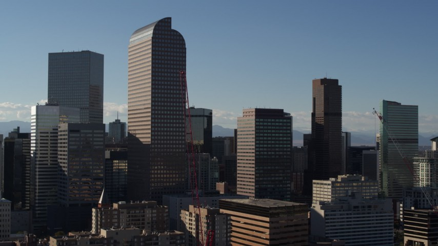 5.7K stock footage aerial video Wells Fargo Center and nearby skyscrapers in Downtown Denver, Colorado Aerial Stock Footage | DX0001_001771