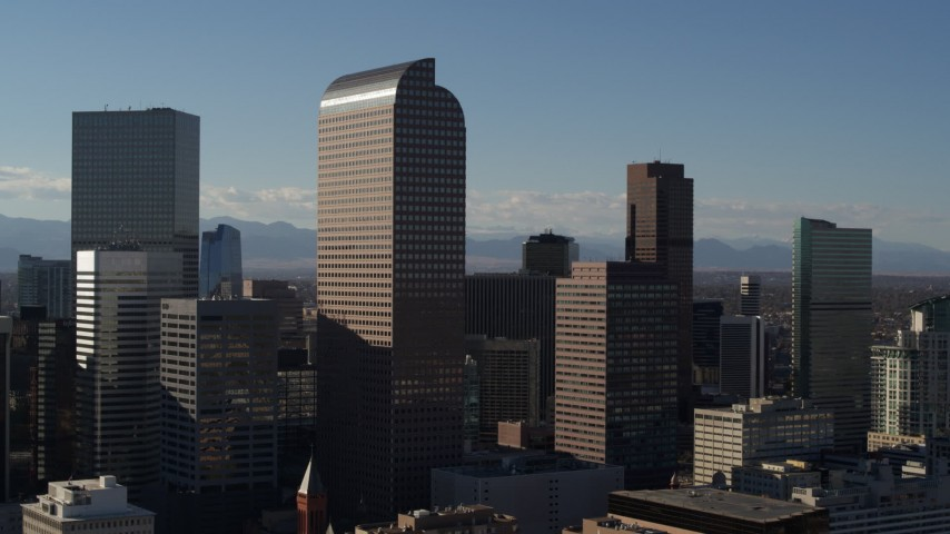 5.7K stock footage aerial video of Wells Fargo Center and nearby skyscrapers in Downtown Denver, Colorado Aerial Stock Footage | DX0001_001775