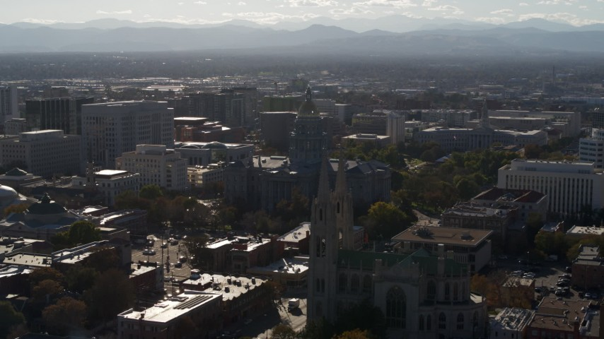 5.7K stock footage aerial video of Colorado State Capitol, Denver City Council and cathedral in Downtown Denver, Colorado Aerial Stock Footage | DX0001_001777