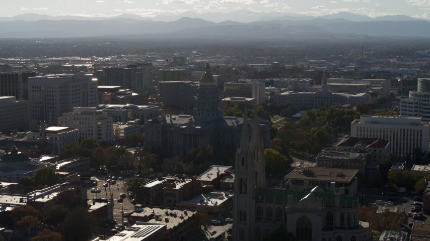 5.7K stock footage aerial video flyby Colorado State Capitol, Denver City Council and cathedral in Downtown Denver, Colorado Aerial Stock Footage | DX0001_001778