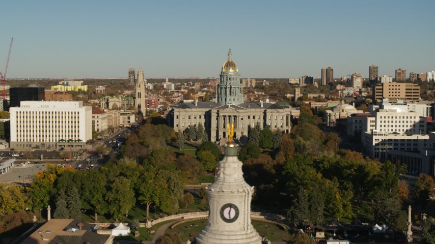 5.7K stock footage aerial video flyby the Colorado State Capitol top of Denver City Council in Downtown Denver, Colorado Aerial Stock Footage DX0001_001791