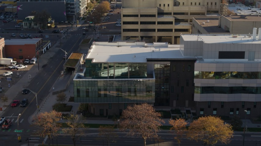 5.7K stock footage aerial video of a police crime lab in Downtown Denver, Colorado Aerial Stock Footage | DX0001_001797