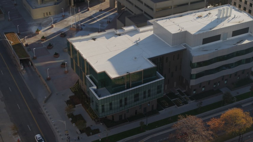 5.7K stock footage aerial video orbit a police crime lab in Downtown Denver, Colorado Aerial Stock Footage | DX0001_001799