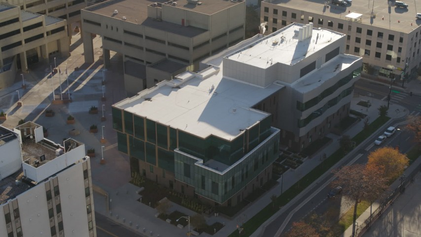 5.7K stock footage aerial video of orbiting a police crime lab in Downtown Denver, Colorado Aerial Stock Footage | DX0001_001800