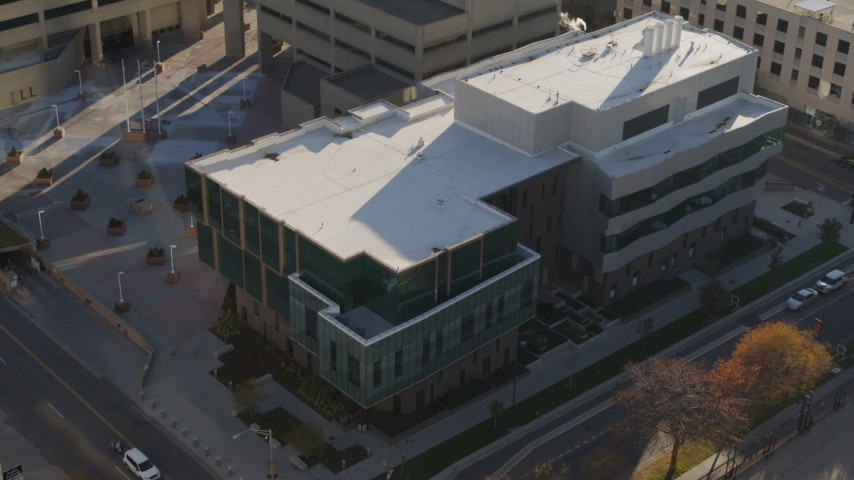 5.7K stock footage aerial video of an orbit of a police crime lab in Downtown Denver, Colorado Aerial Stock Footage | DX0001_001801
