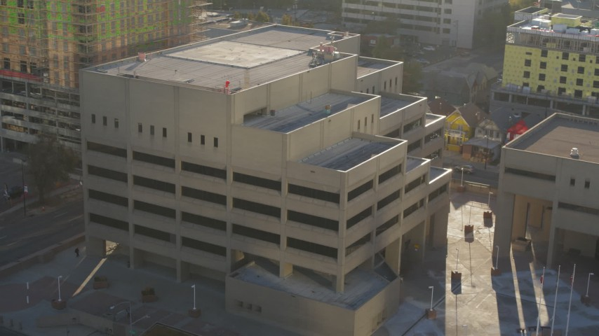 5.7K stock footage aerial video of orbiting the side of a police headquarters in Downtown Denver, Colorado Aerial Stock Footage | DX0001_001804