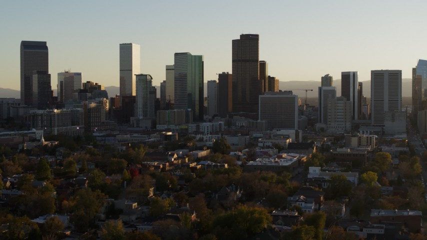 5.7K stock footage aerial video a slow pass by the skyline in Downtown Denver, Colorado at sunset Aerial Stock Footage | DX0001_001816