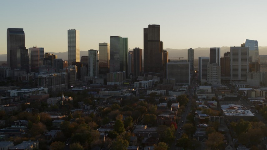 5.7K stock footage aerial video of the skyline at sunset, Downtown Denver, Colorado Aerial Stock Footage | DX0001_001818