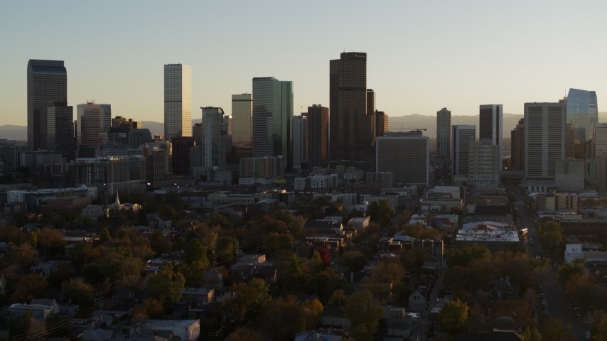 5.7K aerial video of the city skyline at sunset, Downtown Denver, Colorado Aerial Stock Footage | DX0001_001819