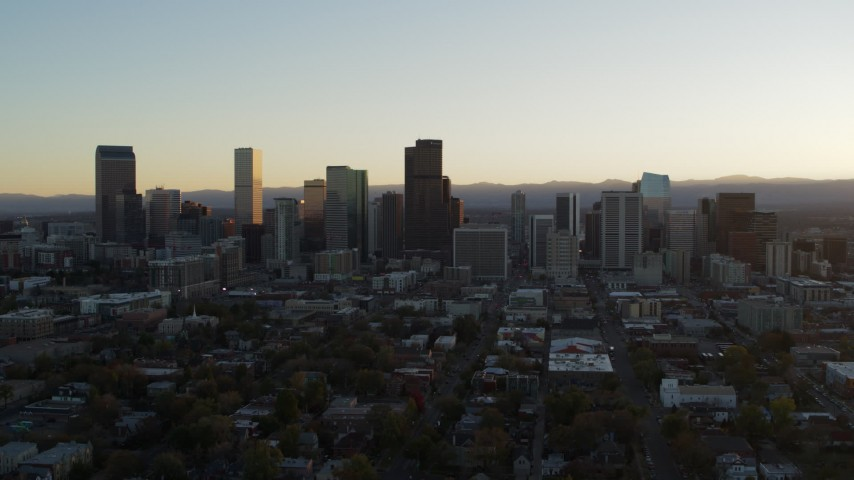 5.7K stock footage aerial video flyby the city skyline at sunset, Downtown Denver, Colorado Aerial Stock Footage | DX0001_001824