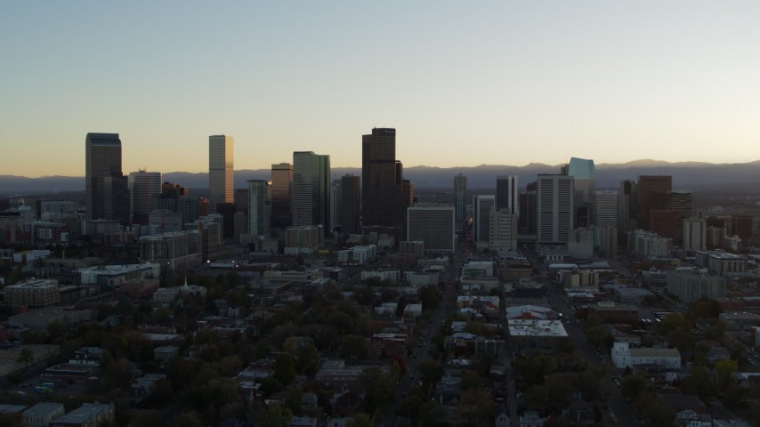 5.7K stock footage aerial video of the city skyline at sunset, Downtown Denver, Colorado Aerial Stock Footage | DX0001_001825