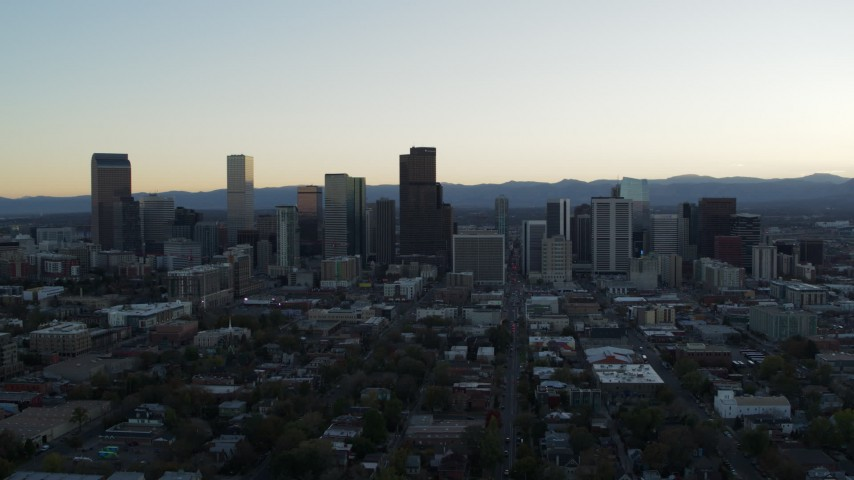 5.7K stock footage aerial video of the city skyline at sunset, Downtown Denver, Colorado Aerial Stock Footage | DX0001_001832