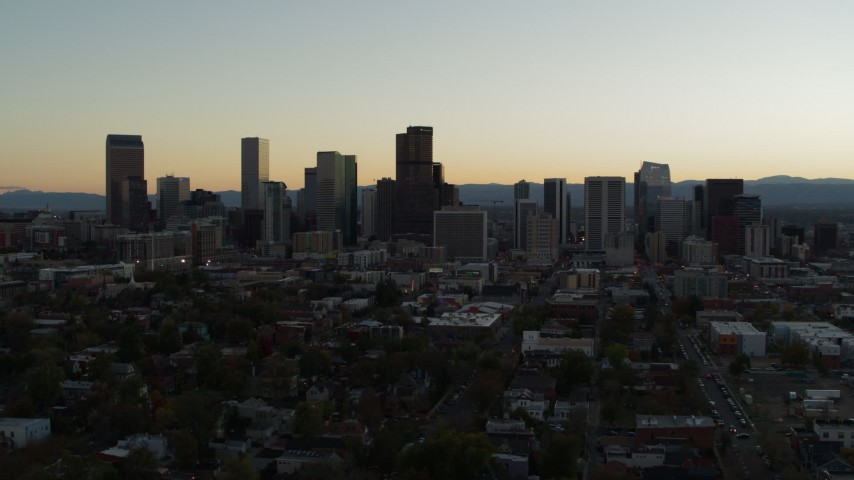 5.7K stock footage aerial video flyby the city skyline at sunset, Downtown Denver, Colorado Aerial Stock Footage | DX0001_001843