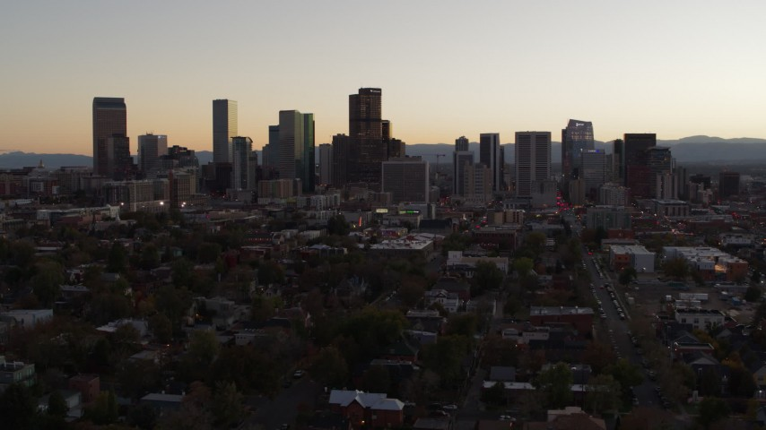 5.7K stock footage aerial video of the city's skyline at sunset, Downtown Denver, Colorado Aerial Stock Footage | DX0001_001857