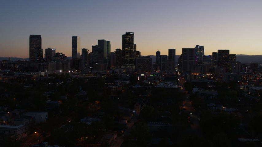 5.7K stock footage aerial video of a stationary view of the city's skyline at twilight, Downtown Denver, Colorado Aerial Stock Footage | DX0001_001875
