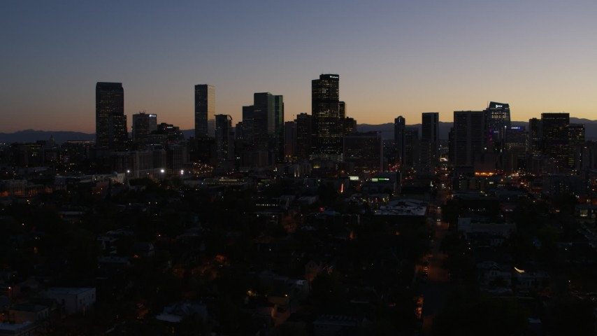 5.7K stock footage aerial video of a slow pass by the city's skyline at twilight, Downtown Denver, Colorado Aerial Stock Footage | DX0001_001879