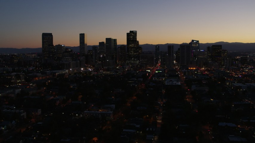 5.7K stock footage aerial video fly toward the city's skyline at twilight, Downtown Denver, Colorado Aerial Stock Footage | DX0001_001881