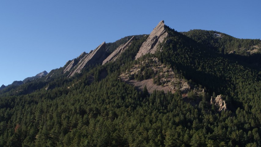5.7K stock footage aerial video of flying by the flatirons on the side of Green Mountain in the Rocky Mountains, Colorado Aerial Stock Footage | DX0001_001896