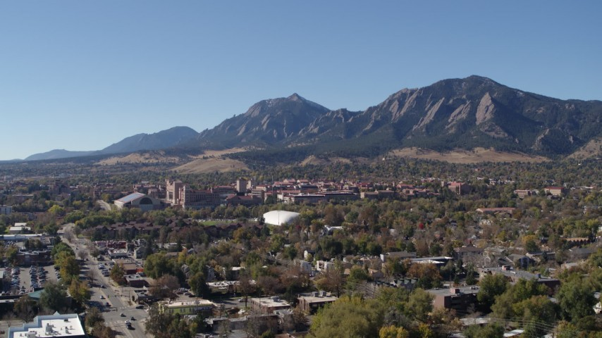 5.7K stock footage aerial video ascend for view of the University of Colorado Boulder with Green Mountain in background Aerial Stock Footage   DX0001_001928