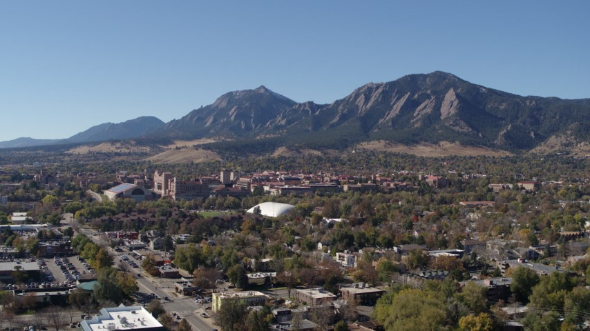 5.7K stock footage aerial video of the University of Colorado Boulder and Green Mountain in distance Aerial Stock Footage | DX0001_001929