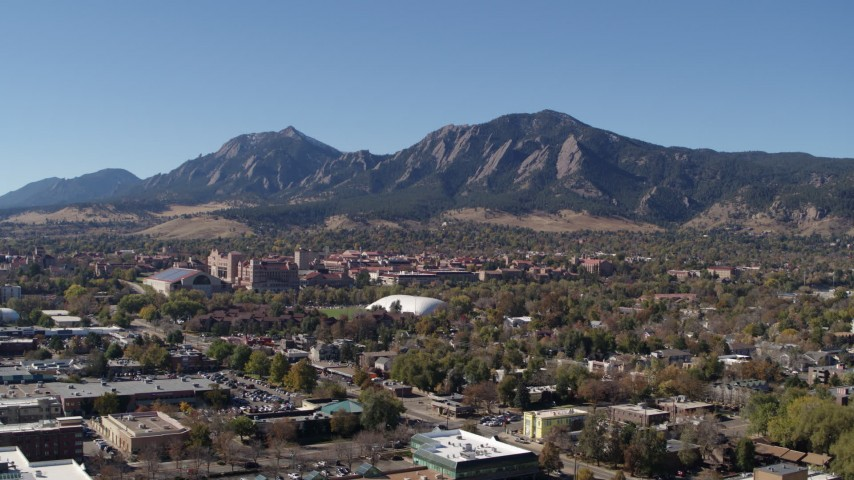 5.7K stock footage aerial video flyby the University of Colorado Boulder and Green Mountain in distance Aerial Stock Footage | DX0001_001930