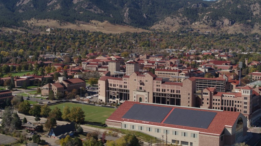 5.7K stock footage aerial video ascend for view of part of the University of Colorado Boulder campus Aerial Stock Footage | DX0001_001941