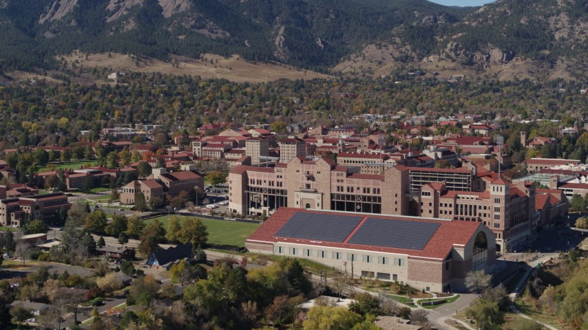 5.7K stock footage aerial video a reverse view of part of the University of Colorado Boulder campus Aerial Stock Footage | DX0001_001942