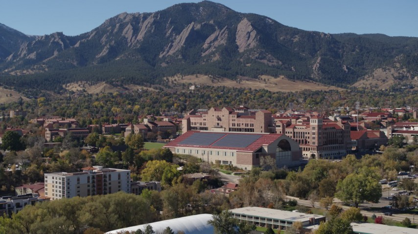 5.7K stock footage aerial video flyby campus buildings at the University of Colorado Boulder while descending Aerial Stock Footage   DX0001_001944