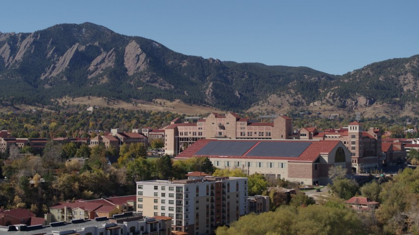 5.7K stock footage aerial video ascend while passing campus buildings at the University of Colorado Boulder Aerial Stock Footage   DX0001_001945