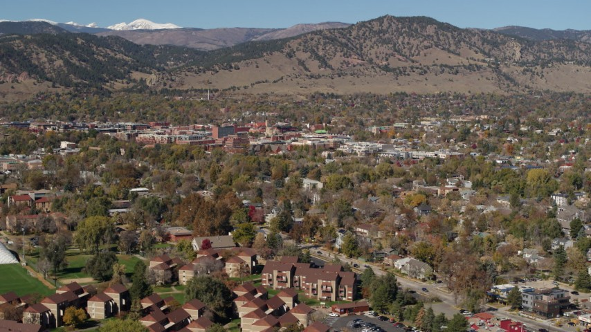5.7K stock footage aerial video of a view of the mountain town of Boulder, Colorado Aerial Stock Footage   DX0001_001952