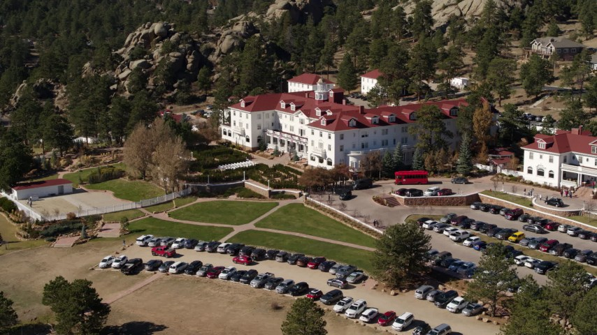 5.7K stock footage aerial video of a view of the historic Stanley Hotel in Estes Park, Colorado Aerial Stock Footage | DX0001_001959