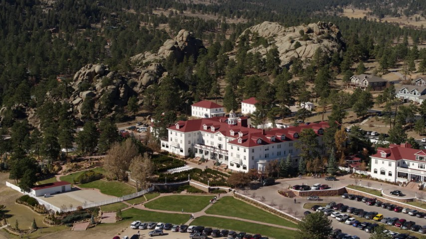 5.7K aerial video of the historic Stanley Hotel in Estes Park, Colorado Aerial Stock Footage DX0001_001964