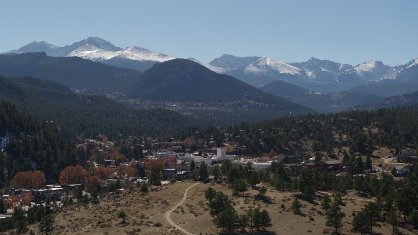 5.7K stock footage aerial video of the Rocky Mountains seen from the town of Estes Park, Colorado Aerial Stock Footage | DX0001_001968