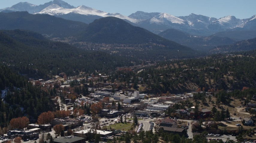 5.7K stock footage aerial video of the Rocky Mountains seen from the town of Estes Park, Colorado Aerial Stock Footage | DX0001_001969