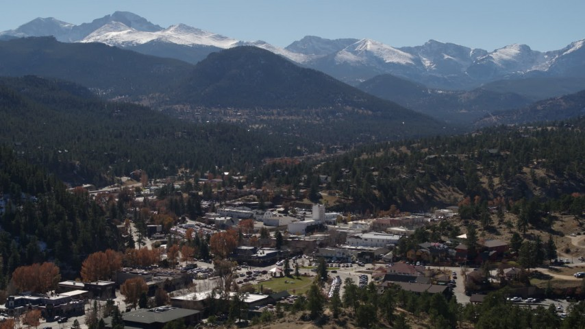 5.7K stock footage aerial video of the Rocky Mountains and the town of Estes Park, Colorado Aerial Stock Footage | DX0001_001970