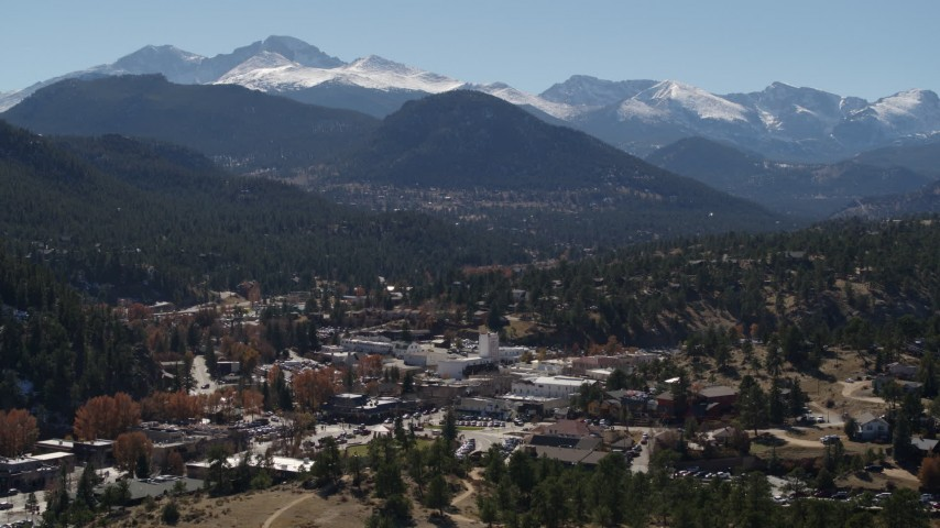 5.7K aerial video of the Rocky Mountains and the mountain town of Estes Park, Colorado Aerial Stock Footage | DX0001_001972