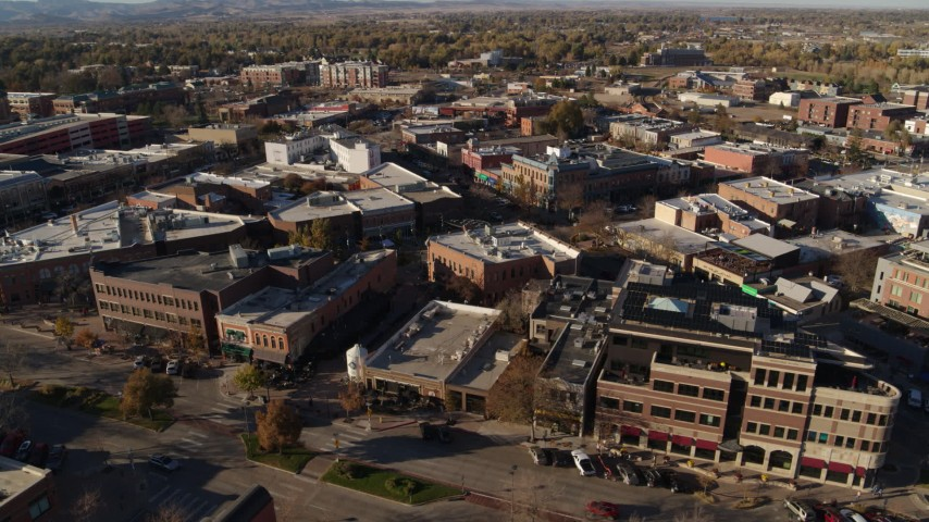 5.7K stock footage aerial video orbit brick office buildings and shops in Fort Collins, Colorado Aerial Stock Footage | DX0001_002013